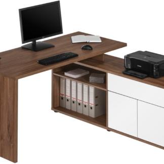 Rohový psací stůl Model 4020, dub stirling/bílý lesk
