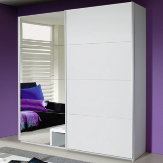 Šatní skříň Quadra, 181 cm, bílá/zrcadlo