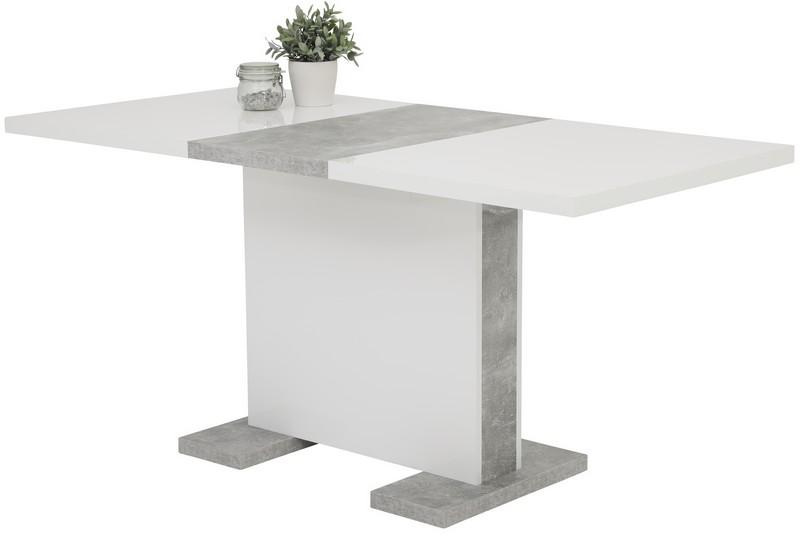 Jídelní stůl Tamara 120x80 cm, bílý lesk/šedý beton