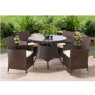 Zahradní set, stůl + 4x židle, ratan, tmavohnědá / krémová, RANDEL 0000186615 Tempo Kondela