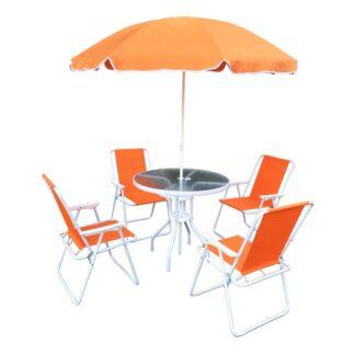 Zahradní set 4+1 se slunečníkem ODELO oranžová / bílá Tempo Kondela