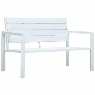 Zahradní lavice 120 cm HDPE Dekorhome Bílá
