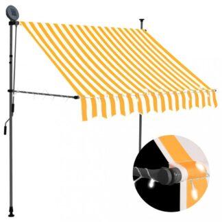 Ručně zatahovací markýza s LED světlem 100 cm Dekorhome Bílá / oranžová