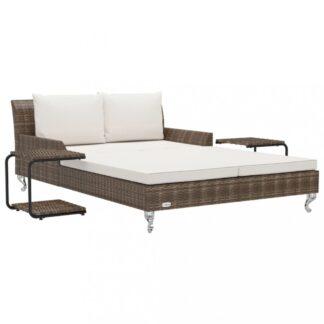 Zahradní postel s poduškou a stolky Dekorhome Hnědá