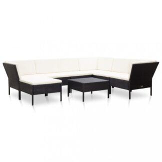 Zahradní sedací souprava 8 ks polyratan Dekorhome Černá / bílá