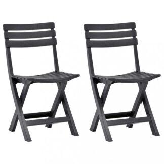 Skládací zahradní židle 2ks plast Dekorhome Antracit