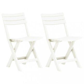 Skládací zahradní židle 2ks plast Dekorhome Bílá