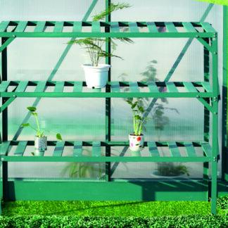 Hliníkový regál 3 police 126x50 cm zelený Dekorhome
