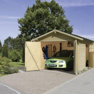 Dřevěná garáž 297 x 447 cm smrk Dekorhome