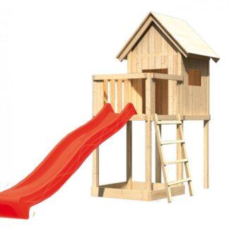 Dětský domeček se skluzavkou Dekorhome Červená