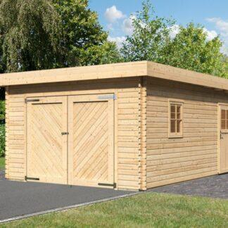 Dřevěná garáž 387 x 537 cm smrk Dekorhome