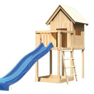 Dětský domeček se skluzavkou Dekorhome Modrá
