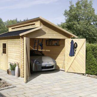 Dřevěná garáž 327 x 447 cm smrk Dekorhome