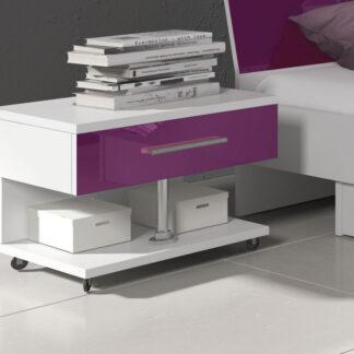 Noční stolek RAJ, bílá/fialový lesk