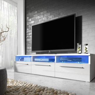 Televizní stolek RTV 2, bílá/bílý lesk