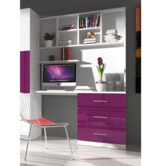 Regál s psacím stolem RAJ 3, bílá/fialový lesk