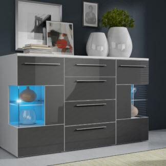 ROMA komoda s LED osvětlením, bílá/šedý lesk