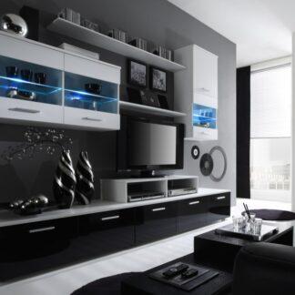 Obývací stěna BETA I s LED osvětlením, bílá/černý lesk