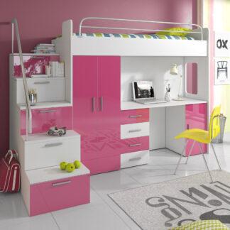 Patrová postel se skříní a psacím stolem RAJ 4S, bílá/růžová