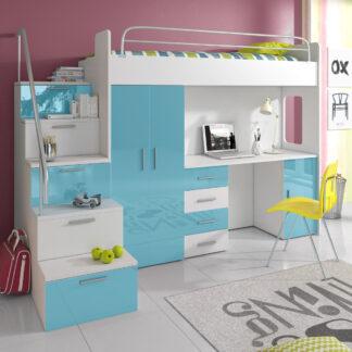 Patrová postel se skříní a psacím stolem RAJ 4S, bílá/tyrkysová