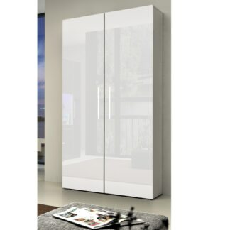 NICEA šatní skříň, bílá/bílý lesk