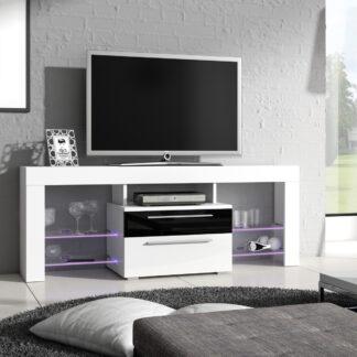 Televizní stolek HAVANA Plus, bílá/černý lesk