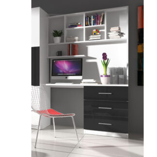 Regál s psacím stolem RAJ 3, bílá/černý lesk