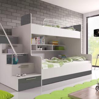 Patrová postel RAJ 2 levá, bílá/šedý lesk