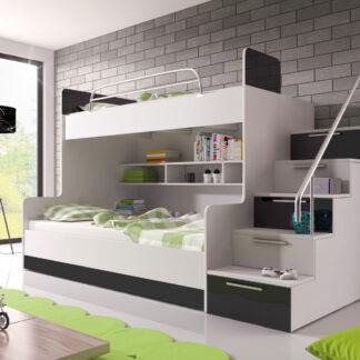 Patrová postel RAJ 2 levá, bílá/černý lesk