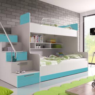 Patrová postel RAJ 2 levá, bílá/tyrkysový lesk