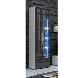 ROMA vitrína 190 s LED osvětlením, bílá/šedý lesk