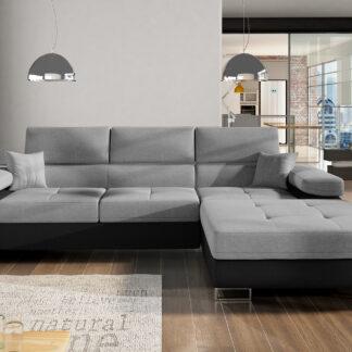 Rohová sedačka ARMANDO Armd_50, pravá, tmavě šedá/černá