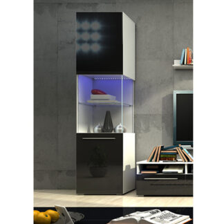 NICEA vitrína 1D, bílá/černý lesk