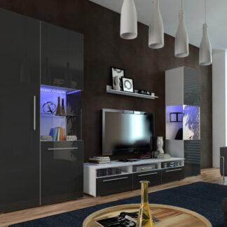 Obývací pokoj NICEA 1, bílá/černý lesk