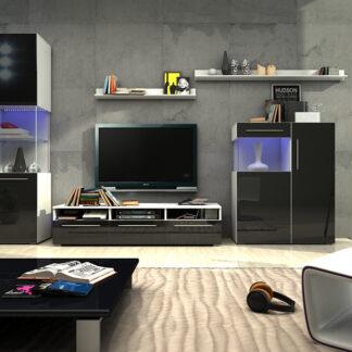 Obývací pokoj NICEA 3, bílá/černý lesk