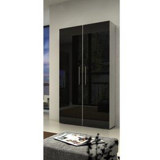NICEA šatní skříň, bílá/černý lesk