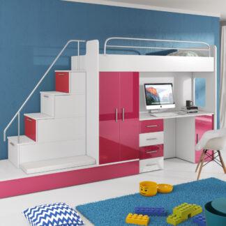 Patrová postel se skříní a psacím stolem RAJ 5, bílá/růžová