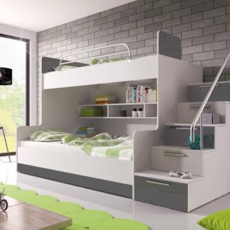 Patrová postel RAJ 2 pravá, bílá/šedý lesk