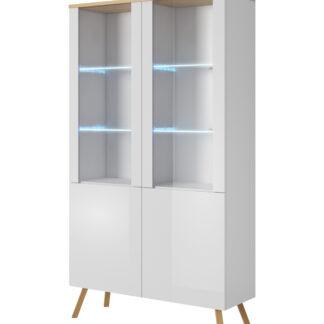 LIMA vitrína 100 cm, bílá/dub wotan