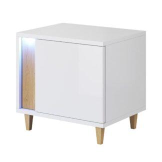 MARCO noční stolek levý, bílá/dub
