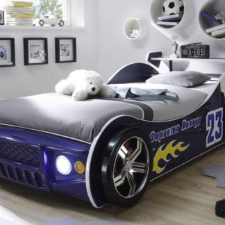 Asko Dětská postel Energy 90x200 cm, modrá závodnička s osvětlením