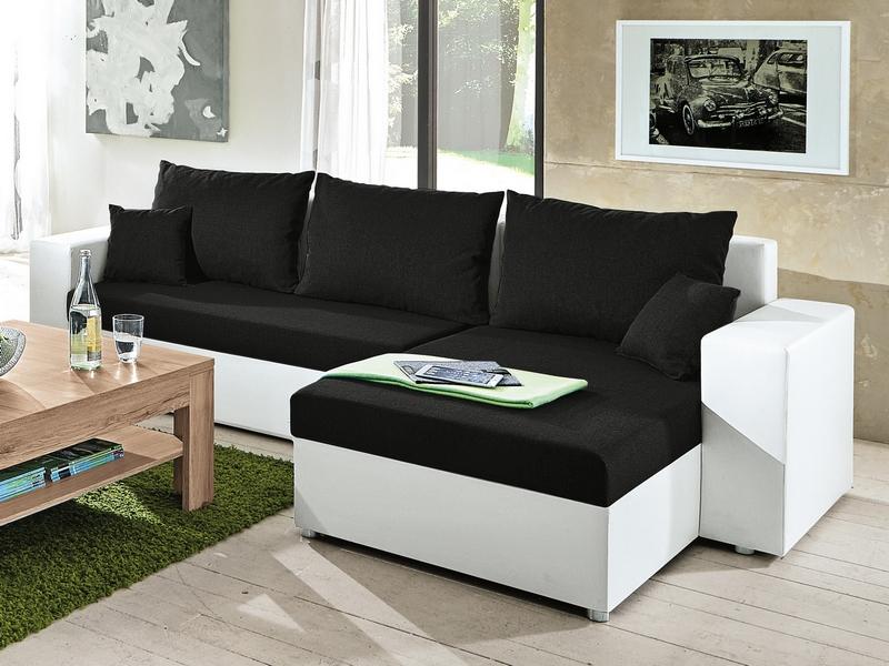 Asko Rohová sedací souprava Samba II, bílá ekokůže/černá látka