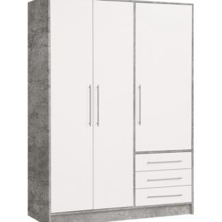 Asko Šatní skříň Jupiter, 145cm, šedý beton/bílá