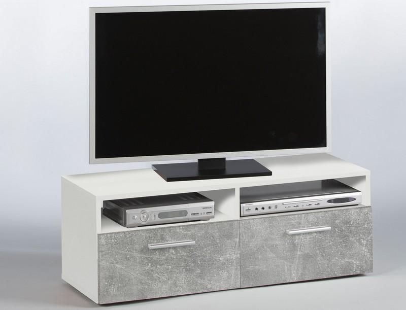 Asko TV stolek Rana, šedý beton/bílá