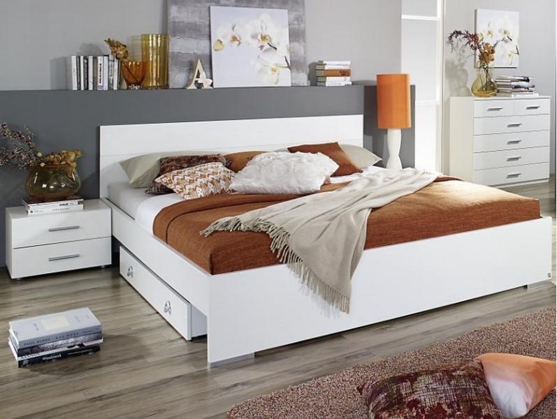 Asko Postel s nočními stolky Lorca 160x200 cm, bílá/lesklá bílá