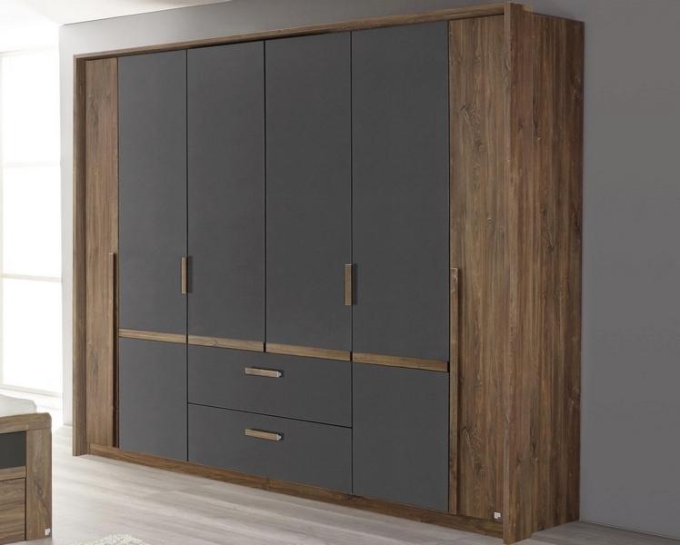 Asko Šatní skříň Bernau, 226 cm, dub stirling/šedá, otočné dveře