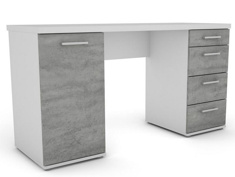 Asko Psací stůl Walter, bílý/šedý beton