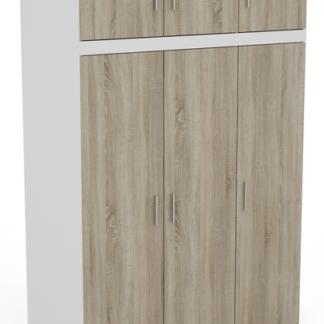 Asko Šatní skříň Ares 3D, bílá/dveře dub sonoma