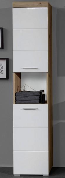 Asko Koupelnová vysoká skříňka Amanda 103, sukový dub/bílý lesk
