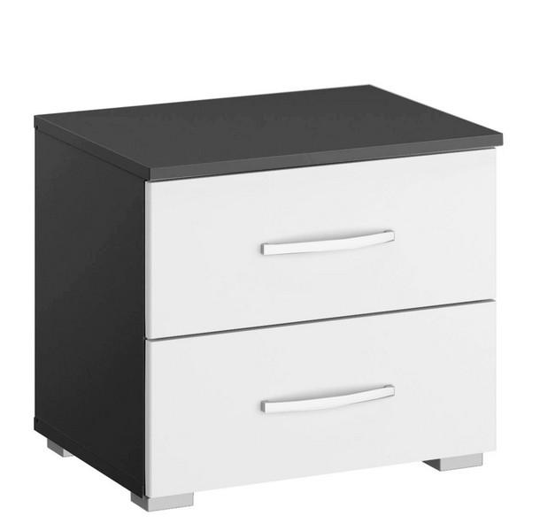 Asko Noční stolek Aditio, tmavě šedý/bílý lesk